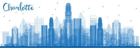 Contour Charlotte North Carolina Skyline avec les bâtiments bleus illustration libre de droits