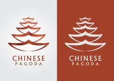 Contour chinois de pagoda avec une texture de diamant de pixel Photo libre de droits