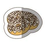 Contour chocolate donuts icon Stock Image