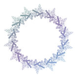 Contour Christmas round frame with holly berry, candles and pine cones. Copy space. Raster clip art Royalty Free Stock Image