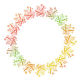 Contour Christmas round frame with holly berry, candles and pine cones. Copy space. Raster clip art Stock Photo
