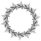 Contour Christmas round frame with holly berry, candles and pine cones. Copy space. Raster clip art Royalty Free Stock Images