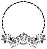 Contour Christmas round frame with holly berry, pine cones and lighting candles. Copy space. Raster clip art Royalty Free Stock Images