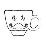 Contour coffee cup with moustache icon Royalty Free Stock Photography