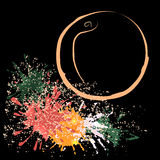 Contour coloré de pêche avec des taches, illustration de vecteur Photographie stock
