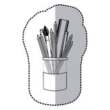 Contour coloured pencils in jar icon Stock Photography
