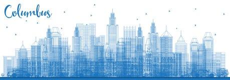 Contour Columbus Skyline avec les bâtiments bleus illustration stock