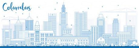 Contour Columbus Skyline avec les bâtiments bleus illustration libre de droits