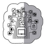 Contour computer icons connections Stock Photography