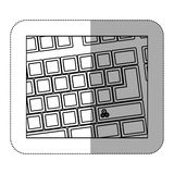 Contour computer keyboard with gear symbol icon. Illustraction Royalty Free Stock Photography