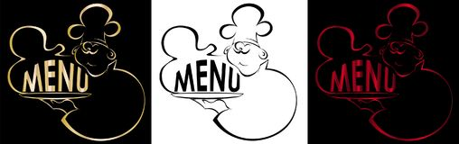 Contour of the cook with a dish Menu logo. Contour of the cook with a dish Menu art logo Stock Photography