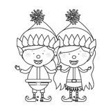 Contour with couple of christmas gnome children Stock Photography