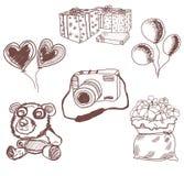 Contour d'ours de nounours et cadeau tiré par la main Illustration Libre de Droits