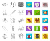 Contour de base-ball et d'attributs, icônes plates dans la collection réglée pour la conception r illustration stock