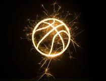 Contour de basket-ball dans les étincelles photos libres de droits