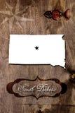 Contour de carte d'état du Dakota du Sud d'affiche image libre de droits
