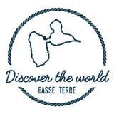 Contour de carte d'île de Basseterre Le vintage découvrent Image stock