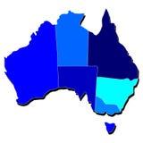 Contour de carte d'Australie aux nuances du bleu illustration stock