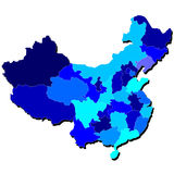 Contour de carte de la Chine aux nuances du bleu Image stock