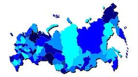 Contour de carte de la Russie aux nuances du bleu illustration de vecteur