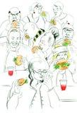 Contour de croquis avec manger des personnes Photos libres de droits