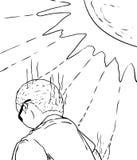 Contour de l'homme obtenant décoloré au soleil illustration de vecteur