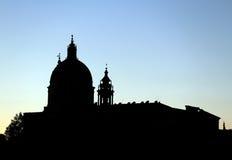 Contour de la cathédrale de SUPERGA près de la ville de Turin photographie stock