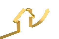 Contour de maison de flèche d'or, illustration 3D Photos stock