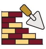 Contour de mur de briques et icône d'isolement remplie de vecteur qui peuvent être facilement édités ou modifiés illustration libre de droits