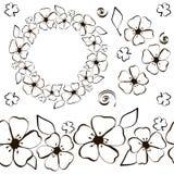 Contour de noir de guirlande de fleur de Conter illustration de vecteur