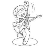 Contour de page de coloration d'un garçon de bande dessinée avec une guitare illustration de vecteur