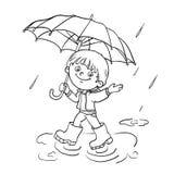 Contour de page de coloration d'un garçon marchant sous la pluie illustration de vecteur