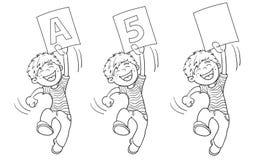 Contour de page de coloration d'un garçon sautant de bande dessinée avec le plus haut rati illustration stock