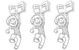Contour de page de coloration d'un garçon sautant de bande dessinée avec le plus haut rati illustration libre de droits
