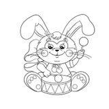 Contour de page de coloration d'un lapin mignon avec un tambour illustration de vecteur