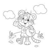 Contour de page de coloration d'un petit tigre avec une boule illustration libre de droits