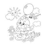 Contour de page de coloration d'un poulet heureux marchant avec un ballon illustration stock