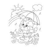 Contour de page de coloration d'un poulet heureux marchant sous la pluie illustration stock