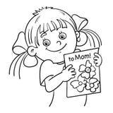 Contour de page de coloration d'une fille avec une photo illustration stock