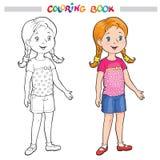 Contour de page de coloration d'une fille de bande dessinée Images libres de droits