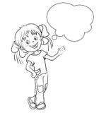 Contour de page de coloration d'une fille de bande dessinée avec la bulle de la parole illustration stock
