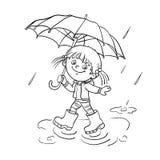 Contour de page de coloration d'une fille marchant sous la pluie illustration stock
