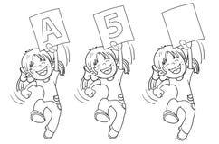 Contour de page de coloration d'une fille sautante de bande dessinée illustration de vecteur