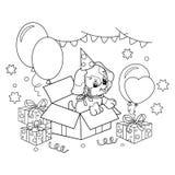 Contour de page de coloration de chiot mignon Crabot de dessin animé avec la proue Cadeau pour les vacances Anniversaire Livre de Photo stock