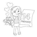 Contour de page de coloration de fille avec des fleurs Le jour de Valentine Photographie stock