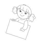 Contour de page de coloration de fille mignonne tenant un signe Image stock