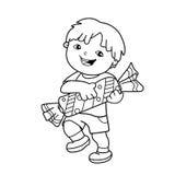 Contour de page de coloration de garçon de bande dessinée avec avec la sucrerie Livre de coloriage pour des enfants illustration stock