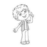Contour de page de coloration de garçon de bande dessinée avec la grande idée Photographie stock libre de droits