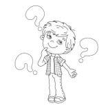Contour de page de coloration de garçon de bande dessinée avec les grandes questions Photographie stock