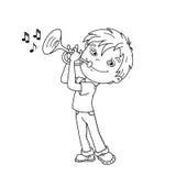 Contour de page de coloration de garçon de bande dessinée jouant la trompette Musica illustration libre de droits